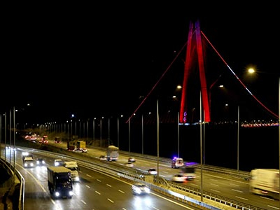 Yavuz Sultan Selim bridge Link Road lighting